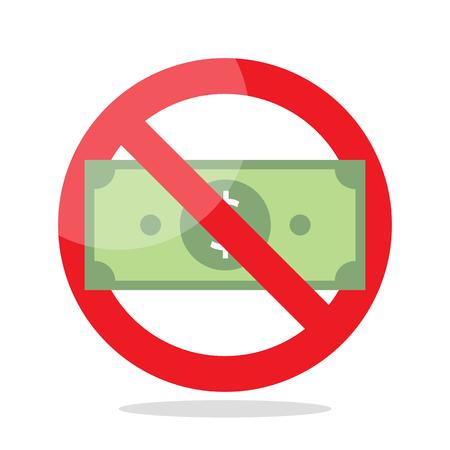 No money sign. Concept of Cashless society Illustration