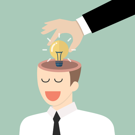 Businessman stealing idea from the other. Vector illustration