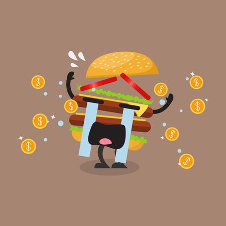 Hamburger character crying out in money tears. Hamburger crisis concept
