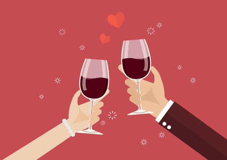 Man and woman toasting a wine glasses. Romantic moment Stock Vector - 93368272
