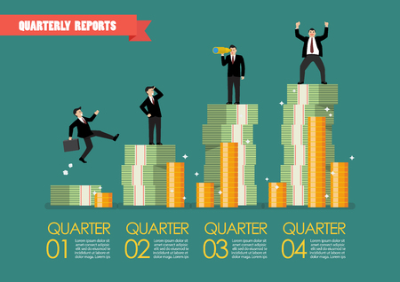 Quarterly reports infographic. Vector illustration