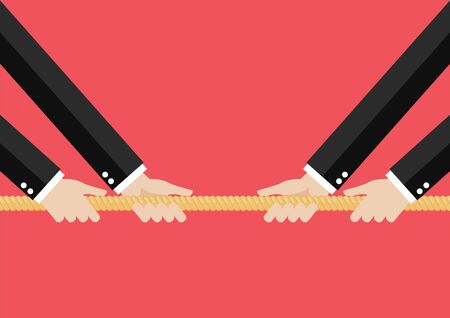 Two Businessmen pull the rope. Business market competition