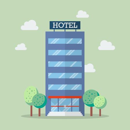 Hotel building in flat style. Vector Illustration Vettoriali