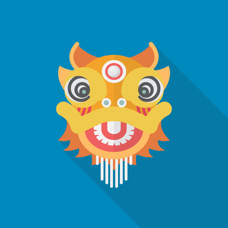 Chinese dancing lion. Vector illustration