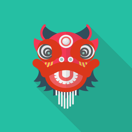 Chinese red lion in flat style. Vector illustration. Illustration