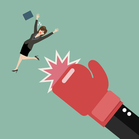 Business woman punched by her boss big hand. Vector illustration