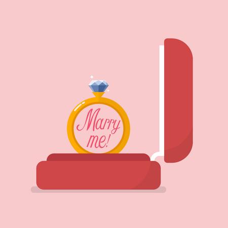 Red velvet box containing engagement ring. Vector illustration