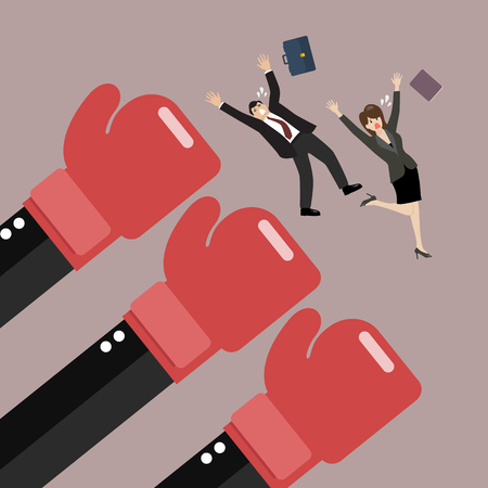 Employees punched by boss big hands. Vector illustration