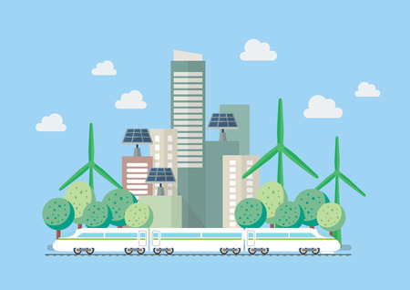 Eco city vector illustration. Flat style design