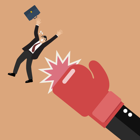 Businessman punched by his boss big hand. Vector illustration Ilustração