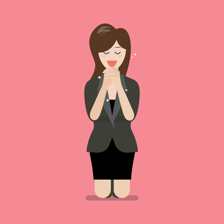 Woman is on her knees and prays to god vector illustration.