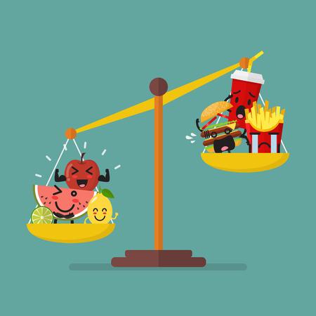 une alimentation saine et malbouffe sur le concept de mode de vie sain de régime