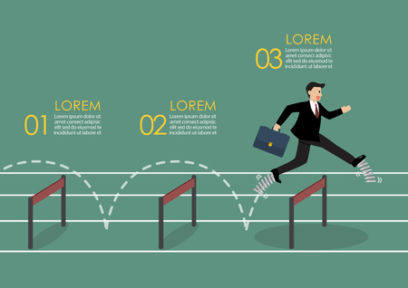Businessman with elastic spring shoes jumping over hurdle.