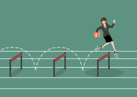 Business woman with elastic spring shoes jumping over hurdle. Business concept Vettoriali