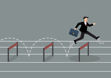 Businessman with elastic spring shoes jumping over hurdle. Business concept vector illustration.