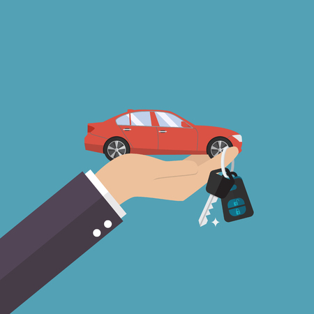 Hand holding car in palm and key on finger. Vector illustration Illustration