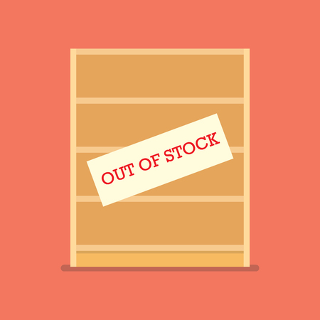 Out of stock sign on wooden shelves. Shortage economic conncept Stock Illustratie