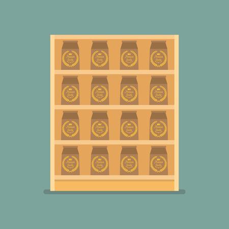 Paper bag products on shelves. Vector Illustration