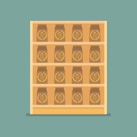 Paper bag products on shelves. Vector Illustration