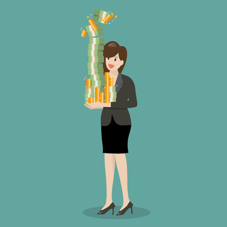 Business woman holding a lot of money. Vector illustration Illustration
