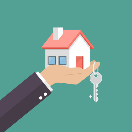 Hand holding home in palm and key on finger. Vector illustration Stock Illustratie