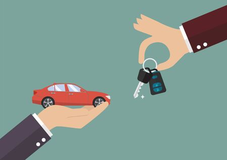 Hand gives a keys to other hand with car. Vector illustration Illustration