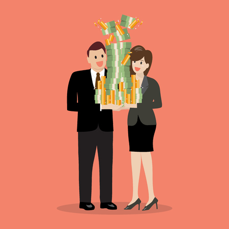 Businessman and woman holding a lot of money. Vector illustration. Illustration
