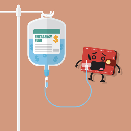 Emergency fund in saline bag with wallet character. Business concept Stock Illustratie