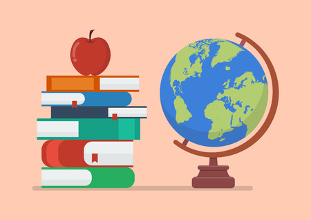 Earth globe model with books and apple. Education concept Illustration