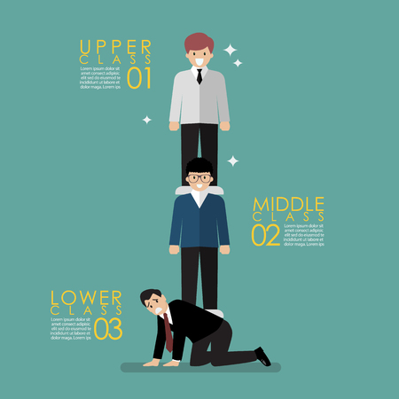 Social class concept represented by Three person in different positions. Vector illustration