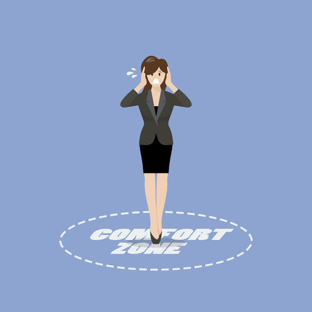 Business woman standing in comfort zone. Business concept