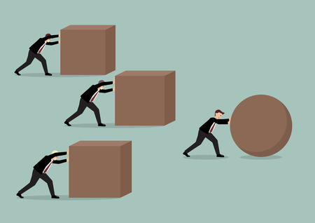 Businessman pushing a sphere leading the race against a group of businessmen pushing cubes. Business concept