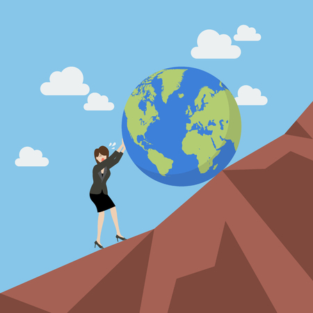 Business woman pushing the world uphill. Vector illustration