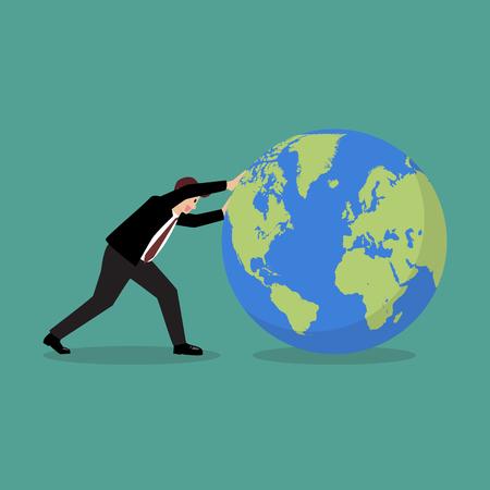 Businessman pushing the world forward. Vector illustration