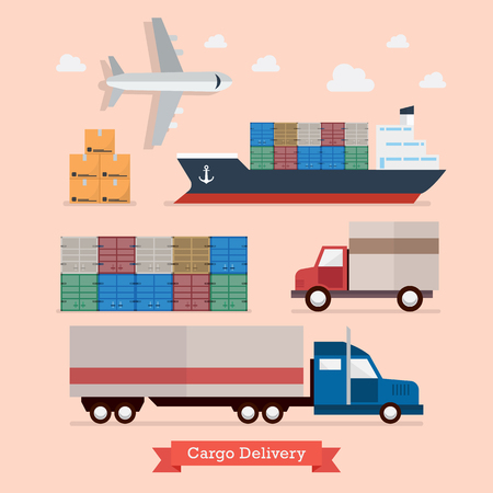 Set of Cargo Transportation. Flat style design vector illustration