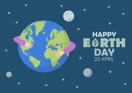 Happy earth day. greeting card vector illustration.