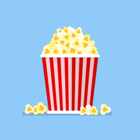 Popcorn snack in flat style. Vector illustration