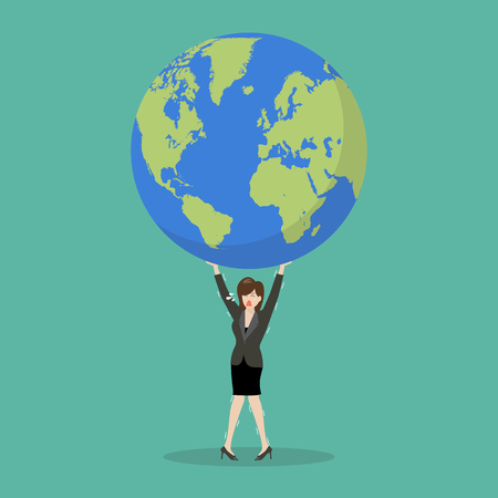 Business woman struggling to carry globe. Vector illustration