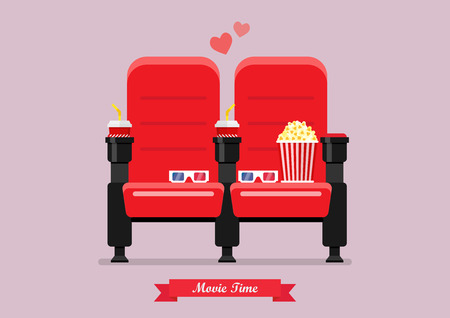 Two cinema seats with popcorn drinks and glasses. Vector illustration