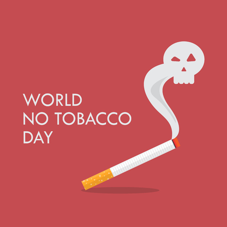 World no tobacco day. Cigarette with a smoke formed skull dead. Stop smoking concept. Vector illustration