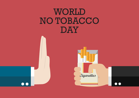 World no tobacco day poster. Reject cigarette offer Ilustracja