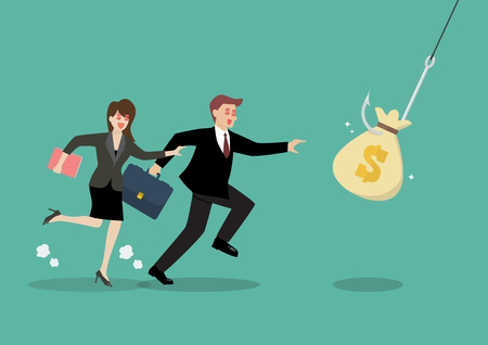 Businessman and woman trying to pick money bag from hook trap vector illustration Illustration