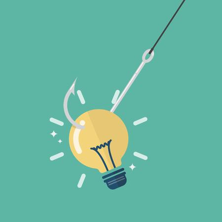 Fish hook with idea light bulb vector illustration Illustration