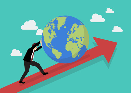 Businessman pushing the world on graph up. Business concept
