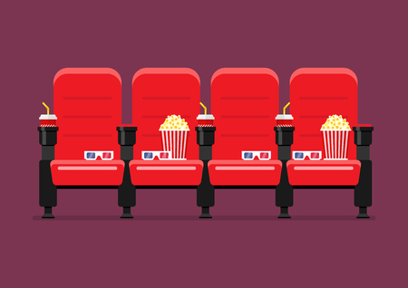 Red Cinema Chairs Vector Illustration With Popcorn Drinks And Glasses Stock  Vector   101797404