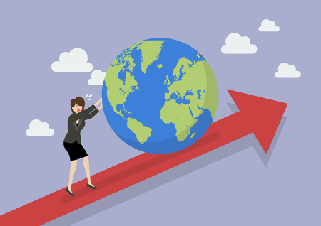 Business woman pushing the world on graph up. Business concept
