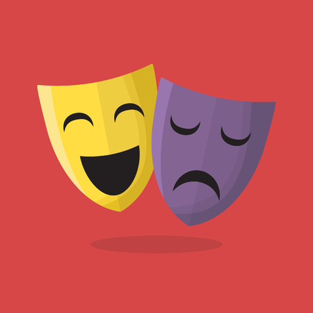 Comedy and tragedy theater masks. vector illustration