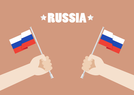 Hands holding up Russia flags. Vector illustration Çizim