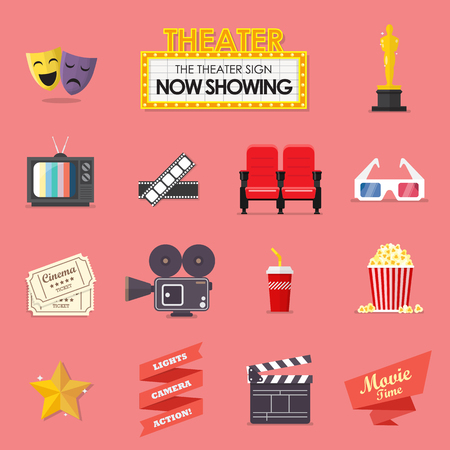 Movie and film icons set. Stock Illustratie
