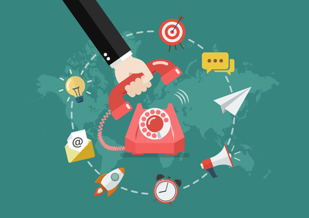 Hand picking up the phone with business icons infographic. Vector illustration